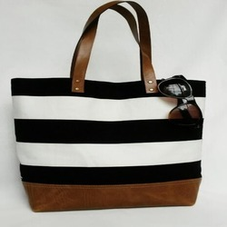Cotton Canvas Bag With Leather Handle