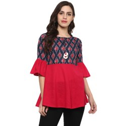 Yash Gallery Women's Cotton Printed Top