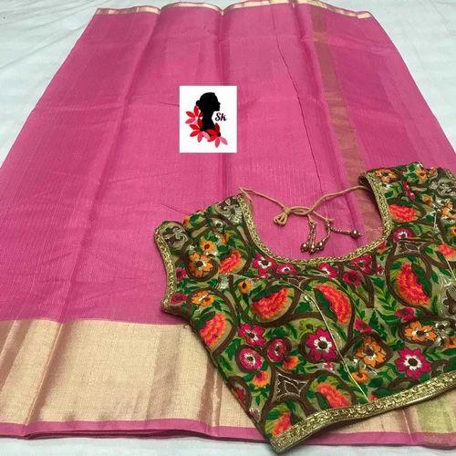 4ec2bb79f6e4f2 Party Wear Golden Border Kota Silk Saree Aari Work Stitched Blouse, 5.5 M  (separate