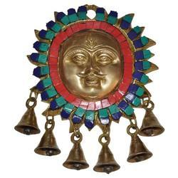 Brass Sun Bell Hanging With Stone Work