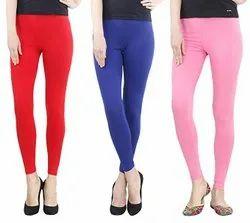Cotton Spandex 20 Color Ladies Solid Plain Ankle Length Leggings, Size: Free Size
