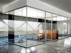 Modular Glass Partition With Hing Door
