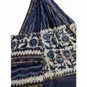 Ladies Printed Blue Cotton Saree