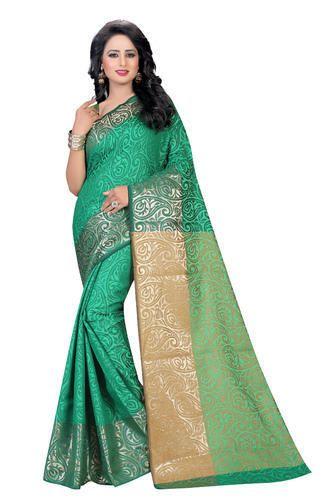 848599a3c Designer Green Cotton Silk Saree at Rs 575  piece