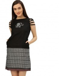 Women Black Embroidered Handloom Dress