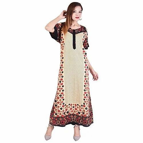 Printed Stitched Cotton Floral Print Nighty, Size: M