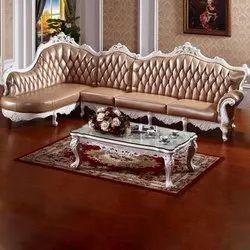 Star L Shape 6 Seater Teak Wood Home Sofa