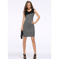 Round Neck Stripe Midi Pencil Dress, Size: S & M
