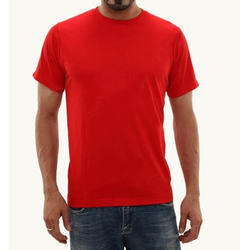 Mens Cotton Red T Shirt, Size: S - XXL