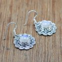 925 Sterling Silver Handmade Jewelry Natural Rainbow Moonstone Earring We-6029