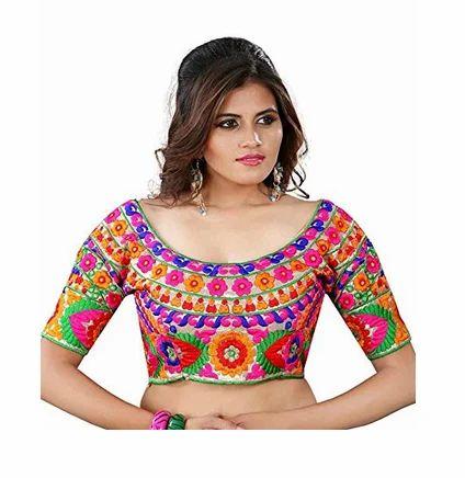 7369bd7402449c Multicolor Kuvarba Fashion Women Silk Saree Blouse