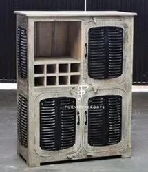 Liquor Cabinet with Plaid Background Drinks Cabinet