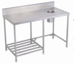 Silver Stainless Steel Soiled Dish Tables, For Commercial