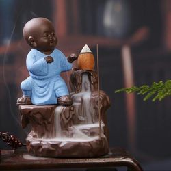 Decora Craft Karate Monk Smoke Buddha Fountain Statue