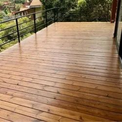Brown Wooden Deck Flooring, For Outdoor, Size/Dimension: 140 Mm X 12-17 Feet (w X L)