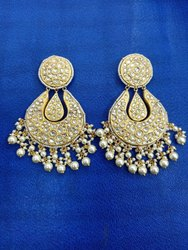 Gold Natural Uncut Diamond Polki Stone Jadau Work Earings