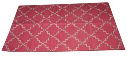 Cotton Block Print Area Rug Flat Weave Woven
