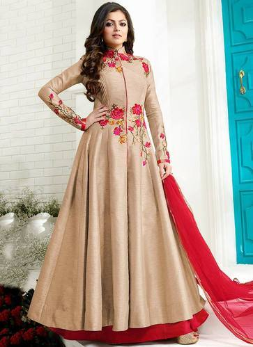 6427128d2ef Skyblue Fashion Silk Beige Color Albela Anarkali Salwar Suit, Rs ...