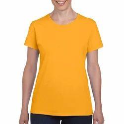 Ladies Round Yellow Neck T-Shirts