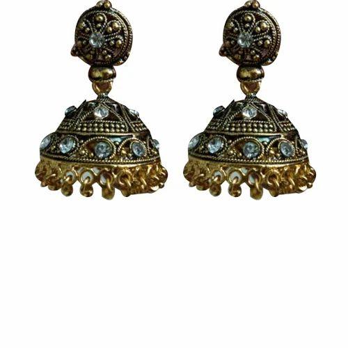 Festival Wear Artificial China Diamond Jhumka Earrings