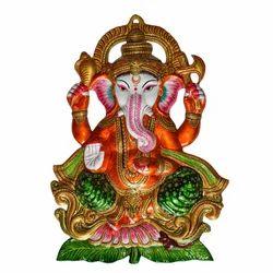 Metal Ganesha Statue With Meenakari Work