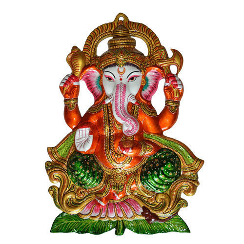 Metal Ganesha Statue With Meenakari Work