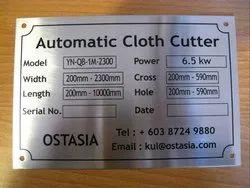 Printed Aluminum Name Plate