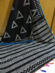 Girraj Printers Printed Designer Cotton Saree With Pom Pom, Without Blouse Piece, 5.2 M (Separate Blouse Piece)