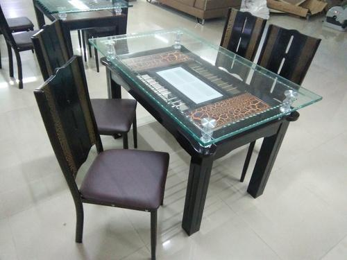 Dining Table With Glass Top 4 Seater For Home Hotel Rs 17999 Piece Id 18228398730