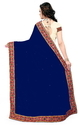 Navy Blue And Beige Color Designer Half And Half Georgette Saree