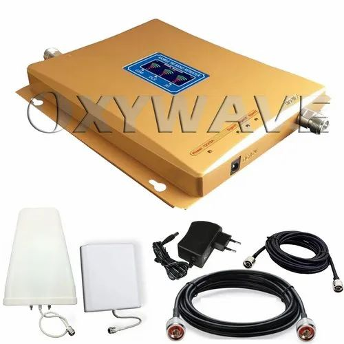 Tri Band 2G, 3G, 4G Mobile Signal Booster Kit with LPDA Antenna (Coverage 1800 sq. feet)