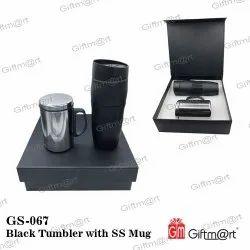 Black Tumbler With SS Mug Gift Set, For Gifting, Size: 23.5 X 25.5 Cm