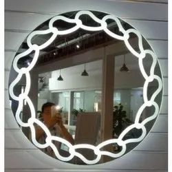 Glass Round LED Mirror, Thickness: 4 mm To 6 mm