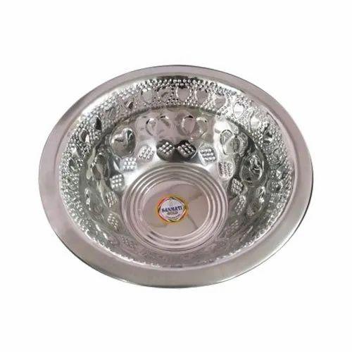 Sanmati Steel Round Pet Feeding Stainless Steel Bowl