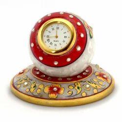 Meenakari Work Marble Table Clock 385