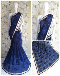 Designer Festival Ribbon Work Blue Color Georgette Saree