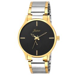 Jainx Black Dial Golden Analog Men Watch JM1126