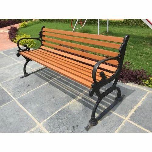 Brown, Black Iron Garden Bench
