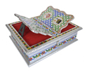 Rehal Holy Quran Book Stand-book Box - Silver Rajwadi Curved