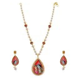 Radha Govind Necklace Earrings Set 238