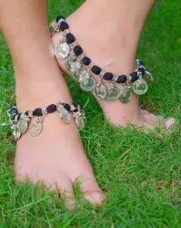 GiftPiper Threaded Sun Coin Tassel Anklet Turquoise