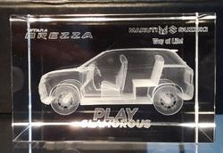 3D Car Engraved Inside Crystal Cube