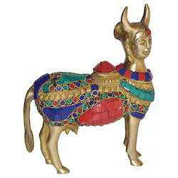Multicolor Brass Nandi With Stone Work, for Interior Decor