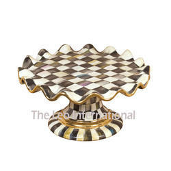 Chess Design Pattern Enamel Color Metal Cake Stand