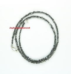 20.03ct Black Natural Raw Rough Diamond Beads Necklace, For Jewelry
