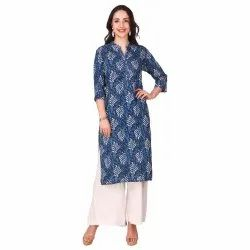 Rayon Printed Blue Color Staright Kurti