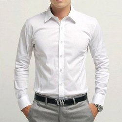 Collar Neck Mens White Cotton Formal Shirt, Machine And Hand Wash