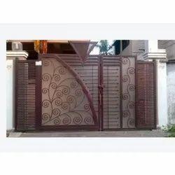 Brown Aluminium Modern Entrance Gate, For Home, Size/Dimension: 6-7 Feet