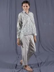 Full Sleeve Non-Stretchable Set of Block Printed Shirt and Pant