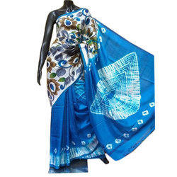 Party Wear Designer Blue Pure Silk Dye Block Printed Saree, With Blouse Piece, 6.5 M